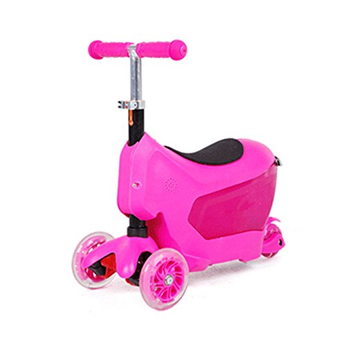 FunnyPro 3in1 Scooter Ride On Luggage With Storage Case for Kids(Pink)