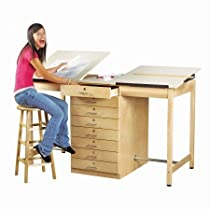 "Big Sale Diversified Woodcrafts DT-80A UV Finish Solid Maple Wood Double Drafting Table with 6 Drawer, Plastic Laminate Top, 70"" Width x 39-3/4"" Height x 32-1/2"" Depth"