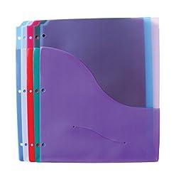 School Smart Polypropylene Folder Pages with Diskette Pocket - Pack of 5 - Assorted Colors