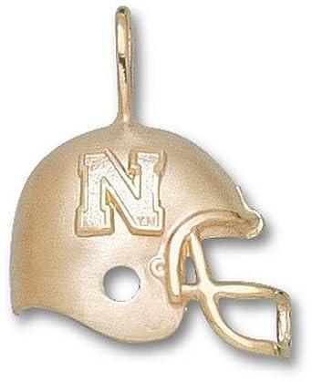 Nebraska Cornhuskers N Helmet Pendant - 14KT Gold Jewelry by Logo Art