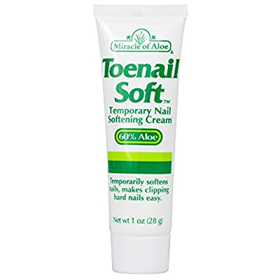 Miracle of Aloe Toenail Soft 1 Oz Temporary Nail Softening Cream with 60% Ultra Aloe. Fast Active Formula That Works While You Sleep! Active Ingredients Combat Toenail Fungus, Ingrown Toenails, Discolored Toenails, Athlete's Black Blue Toenails, Blood Bli