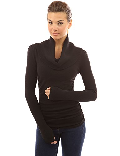 PattyBoutik Women's Cowl Neck Ruched Sides Sweater (Black M) (Cowl Shirt compare prices)