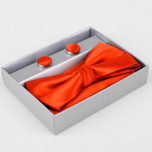 Orange soild Silk Pre-tied Bow tie, Cufflinks, Hanky Present Box Set OrangeRed mens gifts BT2007