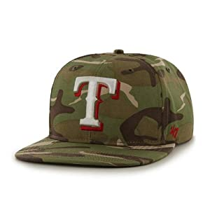 Texas Rangers Camouflage Air Drop Leather Strap Adjustable Strapback Hat Cap by