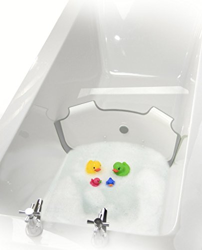 NEW-BabyDam-Bathwater-Barrier-Baby-Bath-Tub-WhiteGrey-Converts-A-Standard-Bath-To-A-Baby-Bath