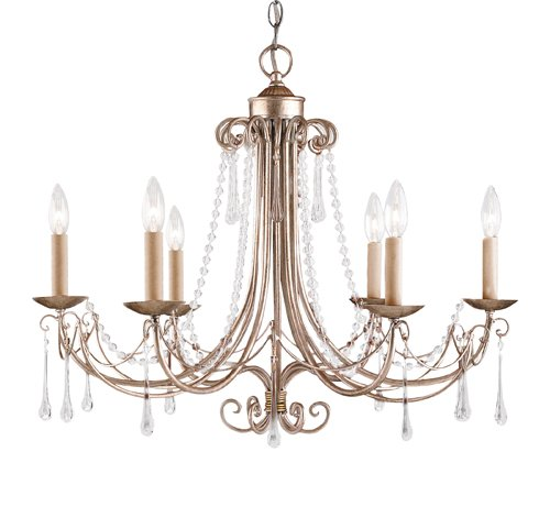 B000O72BF6 Landmark 416-AS Cambridge 6-Light Chandelier, 22-Inch, Antique Silver