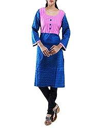 Unnati Silks Women Pracheen kala Pochampally cotton Blue Anarkali kurta