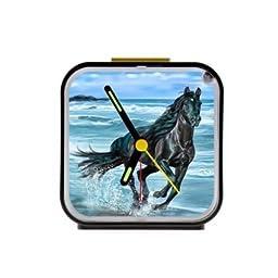 Home Decor Personalized Running Horse Custom Square Black Alarm Clock