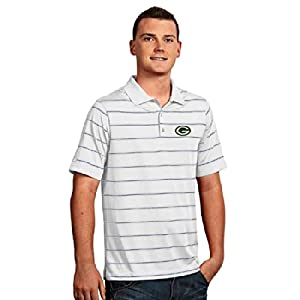 Green Bay Packers Deluxe Striped Polo (White) by Antigua