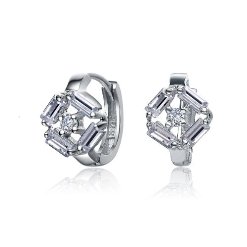 ClassicDiamondHouse CZ DIAMOND SHAPE HUGGIE EARRINGS - Incl. ClassicDiamondHouse Free Gift Box & Cleaning Cloth
