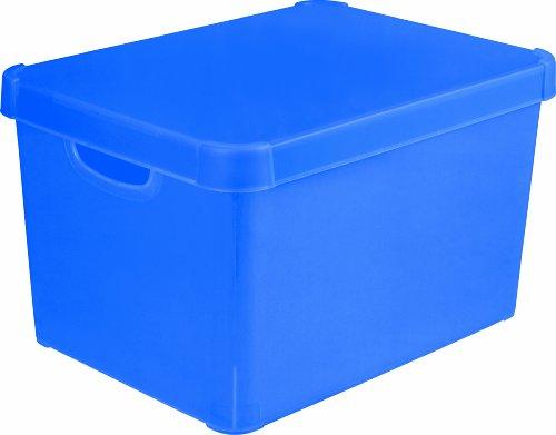 Stockholm 213234 Dekorative Box, Polypropylen, durchsichtig, groß, Blau
