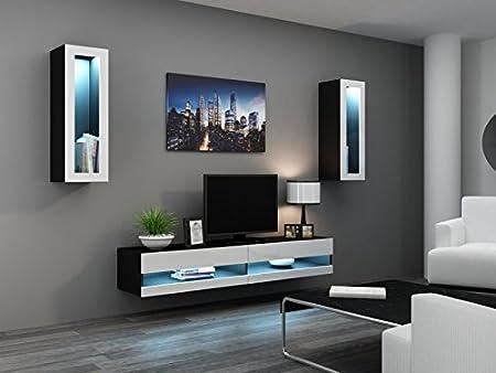 'Vigo New II Wall Unit' Mirror Wall Cupboard Cabinet Glass Display Case schwarz matt / weiß Hochglanz