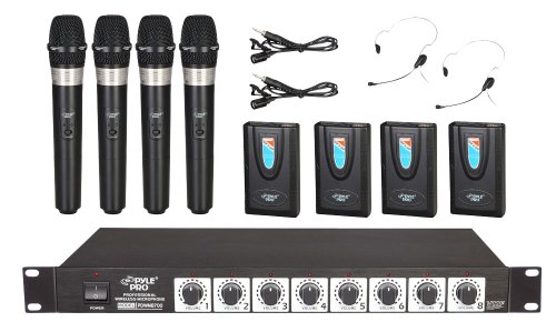 Pyle-Pro Rack Mount 8 Channel Wireless Microphone System With 4 Lavalier/Headsets And 4 Handheld Mics (Pdwm8700)