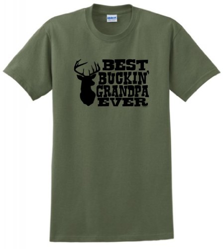 Best Buckin' Grandpa Ever T-Shirt Xl Military Green