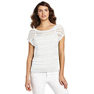 Jones New York Women's Short Sleeve Sweater, Linen White, Medium