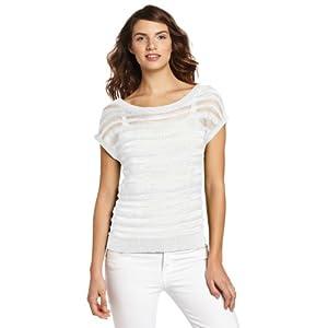 Jones New York Women's Short Sleeve Sweater, Linen White, Medium