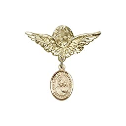 14kt Gold Filled Baby Badge with O/L of Good Counsel Charm and Angel w/Wings Badge Pin