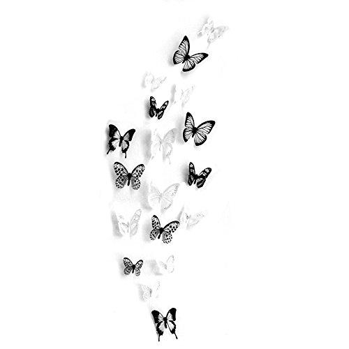 18-Stck-3D-Schmetterling-Wandtattoo-DIY-Wandstickers-Wanddeko-Wandaufkleber-Wei-und-Schwarz