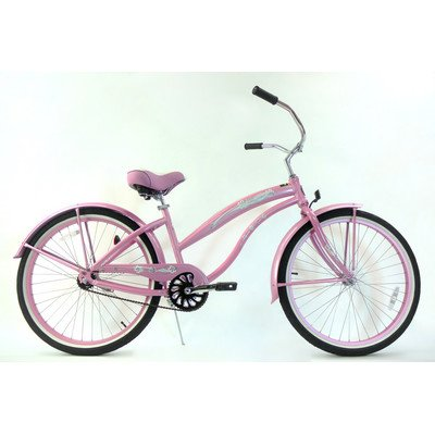 Women's Single Speed Aluminum Beach Cruiser Frame Color: Pink
