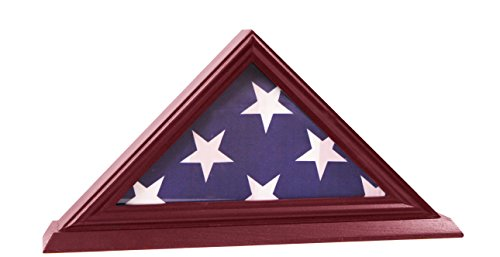 DECOMIL - 3'x5' Flag Display Case, Shadow Box (Not for Burial Funeral Flag), Solid Wood, Cherry Finish (Display Case 3x5 compare prices)