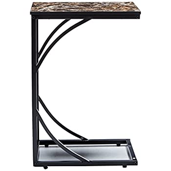 Kings Brand Metal With Marble Finish Top Magazine Snack Side Sofa Table