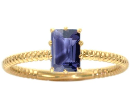 14K Yellow Gold Octagon Gemstone Solitaire Stackable Ring-Iolite, size7