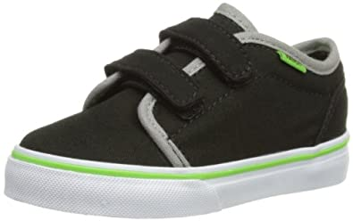 Vans Unisex-Child 106 Vulcanized Trainers, Black/Green Flash, 4 UK Child