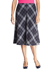 Classic Checked Long Skirt with Wool