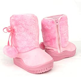 Infants Toddlers Girls Faux Fur Winter Booties Suede Boots Pink , 4-12