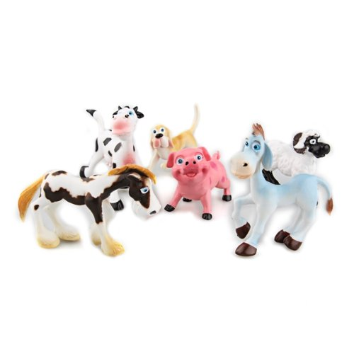 FACILLA® 6 New Hard Plastic Cartoon Farm Animals Figures Set Toy Kid Children