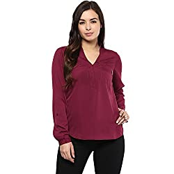 STYLEBAY Women Maroon Crepe Top (CST007, X-Small)