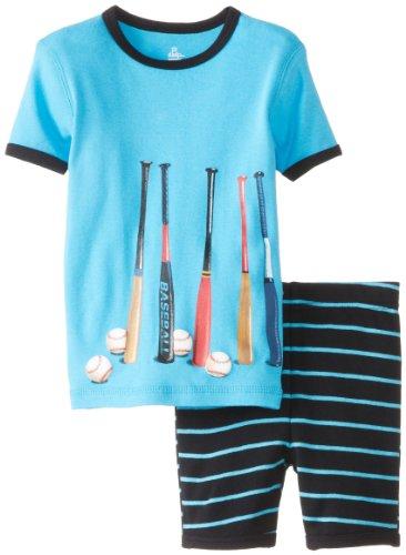 Petit Lem Little Boys' Baseball Bats 2 Piece Shorts Sleep Set, Blue Stripe, 4 front-914100