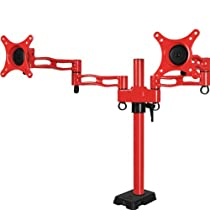 ARCTIC Z-2 Dual 3-Stage Monitor Arm, VESA 75/100 Compliant, 4-Port USB Data Hub - Red