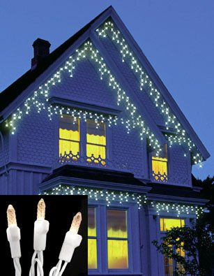 Set Of 70 Warm Clear Led M5 Twinkle Icicle Christmas Lights - White Wire