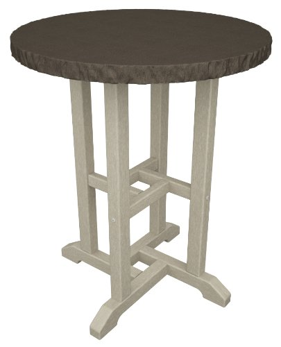 "Polywood Tuscan 24"" Round Faux Granite Dining Table in Sand / Lynx"