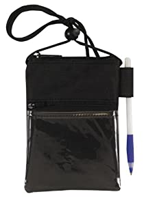 Travel Neck Wallet Passport Badge Holder, Black by Bags for Less