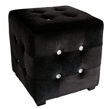 "Black Velvet ""Hollywood Glam"" Cube Stool with Crystal Jewels"