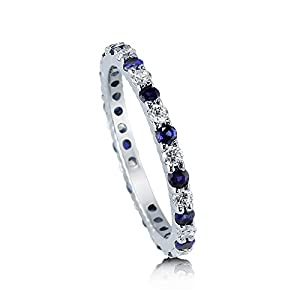 BERRICLE Sterling Silver Simulated Blue Sapphire Cubic Zirconia CZ Womens Wedding Eternity Band Ring from BERRICLE