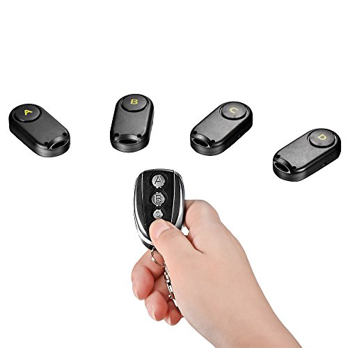 Great Deal! Mudder Wireless RF Locator Remote Key Finder with 1 Transmitter and 4 Receivers, Suitabl...