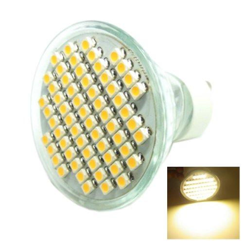 Gu10 4W 60X3528 Smd Led 240-Lumen 3500K Warm White Light Bulb (Ac 85~265V) #Gc
