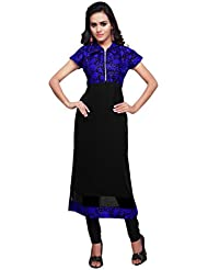 Mirchi Fashion Women's Black And Blue Faux Georgette And Art Silk Stitched Kurti