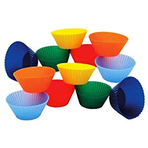 Kitchen Supply Mini Muffin Silicone Baking Cups, 1-7/8-Inch(measurement of bottom of cup), Set of 12