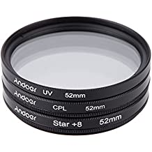 Alcoa Prime Andoer 52mm Filter Set UV + CPL + Star 8-Point Filter Kit With Case For Canon Nikon Sony DSLR Camera...