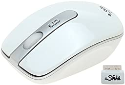 ShhhMouse Wireless Silent Mouse with 1000, 1200 and 1600 dpi switch and Battery, White