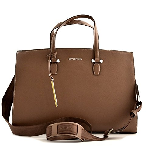 BORSA CARTELLA BUSINESS DONNA CROMIA IN VERA PELLE MARRONE CUOIO BAG