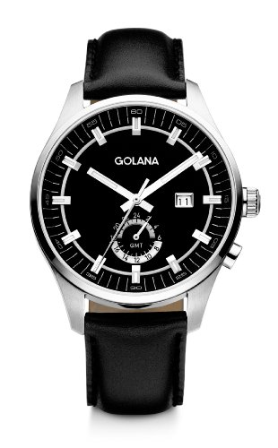 Golana Terra Gmt Men's Quartz Watch with Black Dial Analogue Display and Black Leather Strap TE300-4