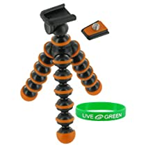 Flexible Tripod (Orange / Black) for Nikon Coolpix S210 Digital Camera Plum