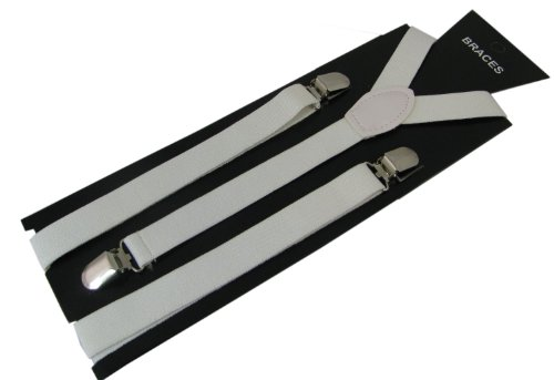 Pair Narrow Fashion Braces [suspenders] in Plain White 2cm wide ,Adjustable with metal adjusters and snap fasteners.