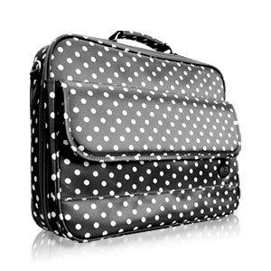 sacoche ordinateur pc portable 17 sac housse fond noir polka dot blanc couche accessoire. Black Bedroom Furniture Sets. Home Design Ideas