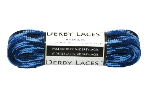 Blue Camouflage 72 Inch Waxed Skate Lace - Derby Laces for Roller Derby, Hockey and Ice Skates, and Boots